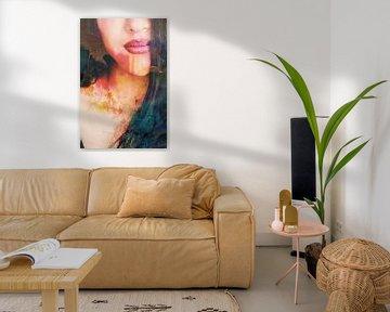 Visage d'une femme dans les tons Rouge / Orange / Terre sur Art By Dominic