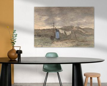 Frau an einer Wäscheleine in den Dünen, Anton Mauve