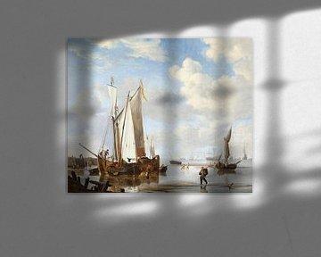 Ein Wijdschip und ein Kaag in einer Bucht nahe einer Seemauer, Willem van de Velde der Jüngere.