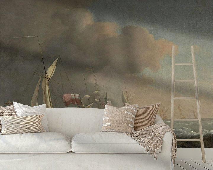 Beispiel fototapete: Englische Royal Yachts auf See bei starker Brise, Willem van de Velde der Jüngere