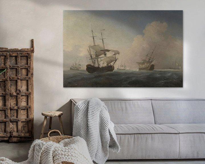 Impression: Vaisseaux de guerre anglais Heeling in the Breeze Offshore, Willem van de Velde the Younger