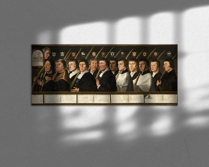 Beispiel: Zwölf Mitglieder der Haarlem Bruderschaft der Jerusalemer Pilger, Jan van Scorel