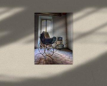Blauwe kinderwagen van Anne Van Gils