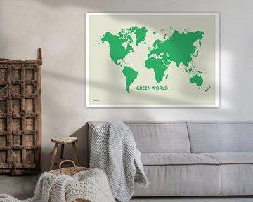 Decoratieve Wereldkaart Green World van Emma Kersbergen
