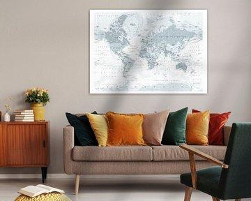 Decoratieve Wereldkaart in grijstinten van Emma Kersbergen