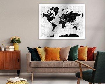 Dekorative Weltkarte schwarz-weiß von Emma Kersbergen