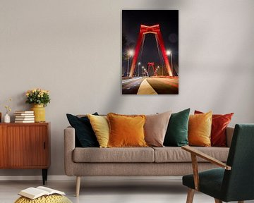 Die Willemsbrug in Rotterdam am Abend von Pieter van Dieren (pidi.photo)