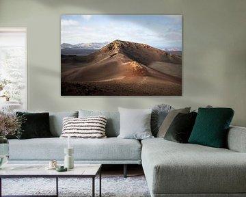 Vulkaan in Timanfaya Nationaal Park Lanzarote van Daan Duvillier