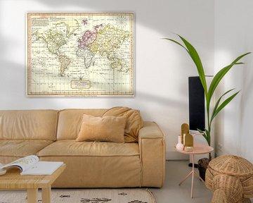 Retro-Weltkarte in sanften Farben von Emma Kersbergen