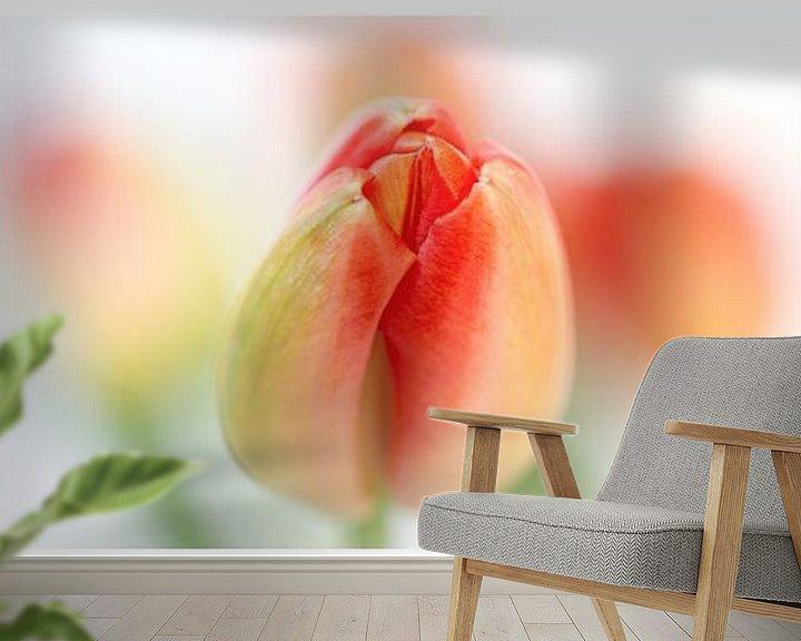 Sfeerimpressie behang: Fresh Tulips (Drieluik....) (bloem, tulp, lente, oranje) van Bob Daalder
