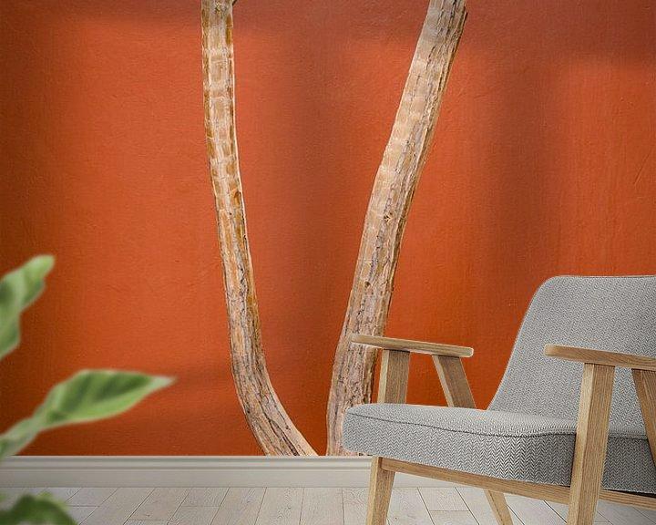 Sfeerimpressie behang: Woestijnplant voor een muur in terracotta kleur van Jille Zuidema