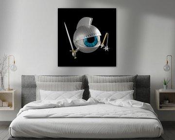 Ritter-Auge mit Schwert, Morgenstern und Rüstung von Jörg Hausmann