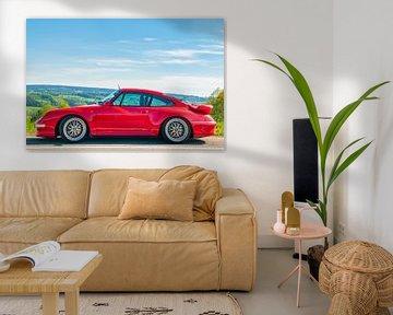 Porsche 911 Turbo in een landelijk landschap van Sjoerd van der Wal