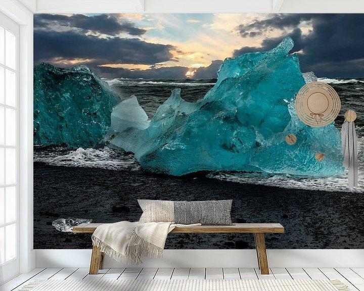Beispiel fototapete: Blaues Eis an einem Strand Islands von Gert Hilbink
