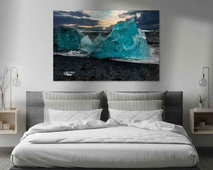 Beispiel: Blaues Eis an einem Strand Islands von Gert Hilbink