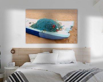 Vissersnetten op strand