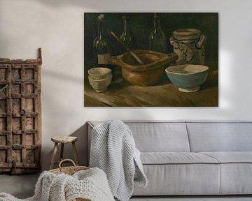 Stillleben mit drei Flaschen und Steingut, Vincent van Gogh