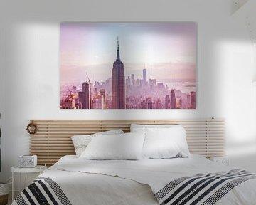 New York City View Modern Sunset van Harm Roseboom