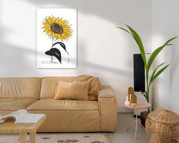 eine Linie Zeichnung Sonnenblume von Ankie Kooi