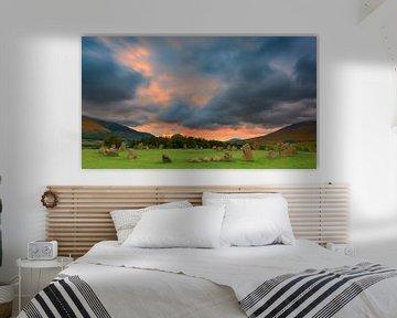 Zonsopkomst Castlerigg, Lake District, Engeland