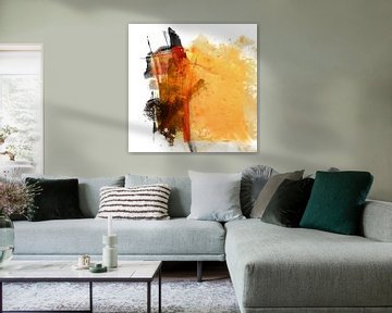 Geel abstract (nr. 18A-1) van Andreas Wemmje