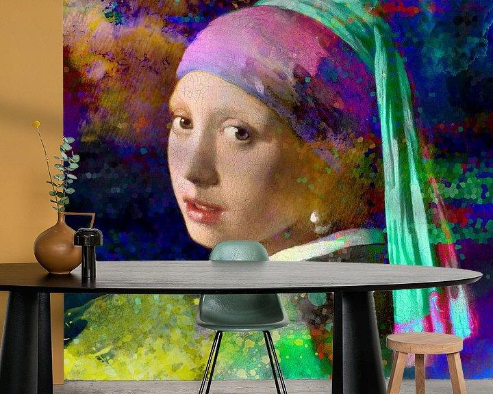 Sfeerimpressie behang: Meisje met de parel / Girl with a Pearl Earring Abstract van Art By Dominic