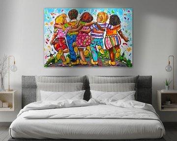 Vrolijke Hollandse kinderen klompendans van Vrolijk Schilderij