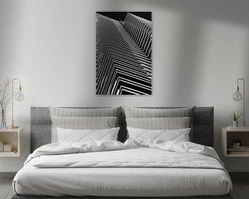 Babylon Den Haag abstraktes Architekturbild in Schwarz-Weiß von Marianne van der Zee