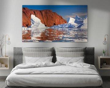 IJsbergen in Røde Ø, Scoresby Sund, Groenland