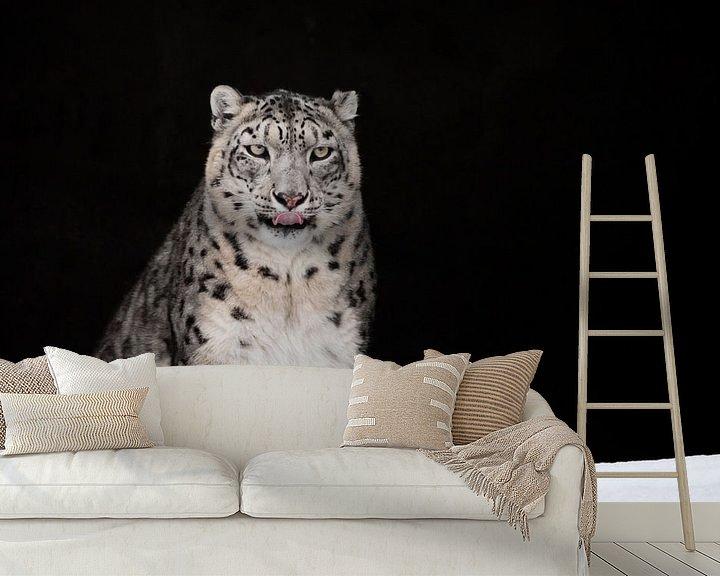 Beispiel fototapete: geleckt. Der Schneeleopard ist ein mächtiges und schönes Raubtier im Schnee vor einer dunklen Felshö von Michael Semenov