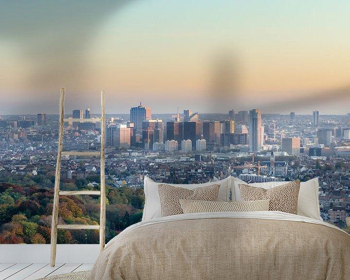 Sfeerimpressie behang: Skyline van Brussel van Mark Bolijn