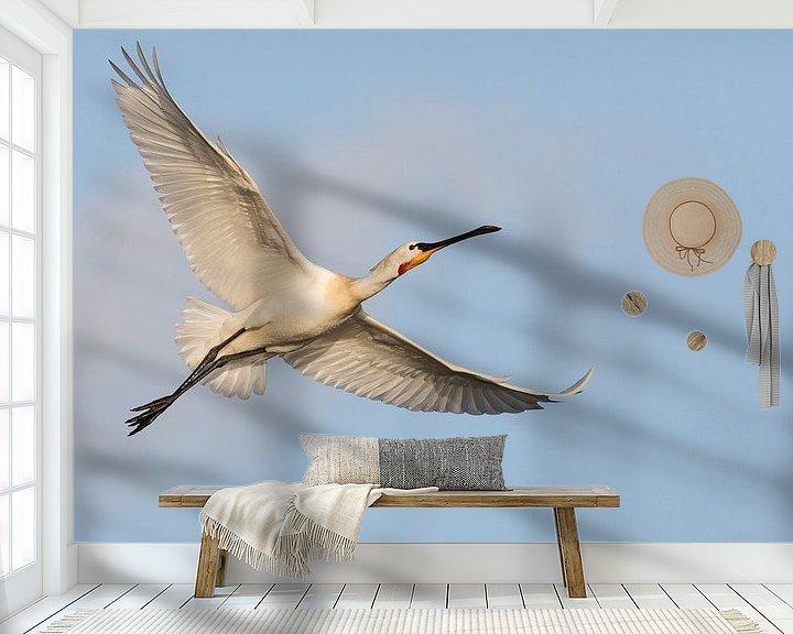Beispiel fototapete: Vögel - Löffler im Flucht für einem blauen Himmel von Servan Ott
