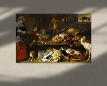Küchenstillleben mit Dienstmädchen und Jungen, Frans Snyders & Jan Boeckhorst