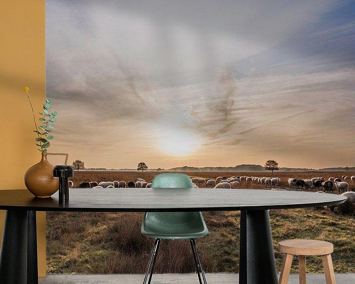 Sfeerimpressie behang: Drenthe in avondlicht van Meint Brookman