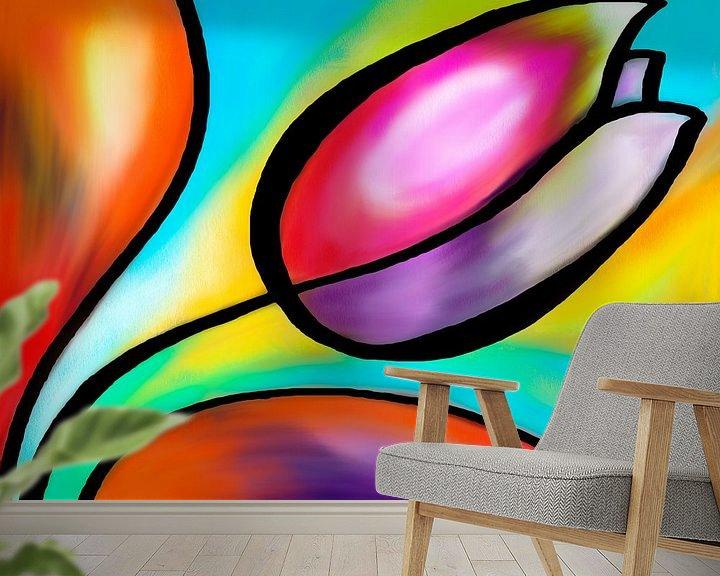 Sfeerimpressie behang: Kleurrijke tulp van Lida Bruinen