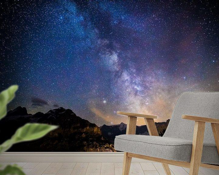 Beispiel fototapete: Sternenhimmel über den Schweizer Alpen von Maurice Haak