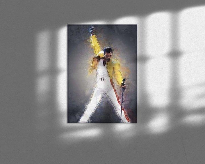 Sfeerimpressie: Freddie Mercury olieverf portret van Bert Hooijer