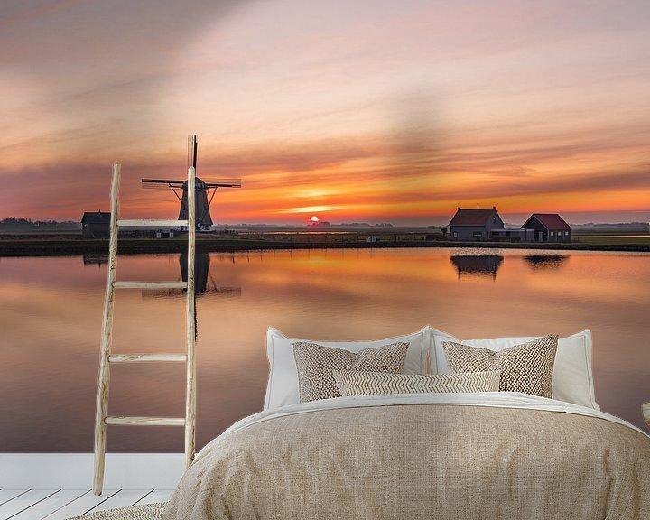 Sfeerimpressie behang: Texel Molen het Noorden zonsondergang van Texel360Fotografie Richard Heerschap