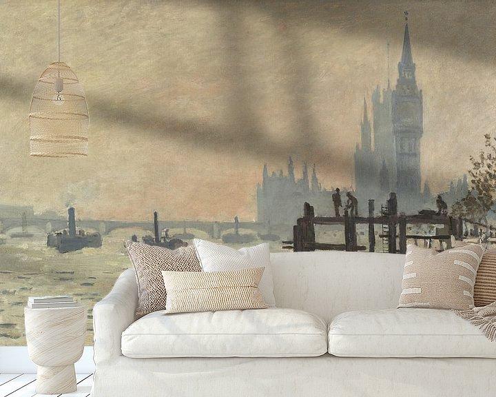 Beispiel fototapete: Die Themse unter Westminster, Claude Monet