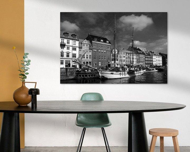 Sfeerimpressie: Kopenhagen, Nyhavn van mono chromie