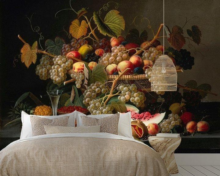 Sfeerimpressie behang: Stilleven met fruit, Severin Roesen