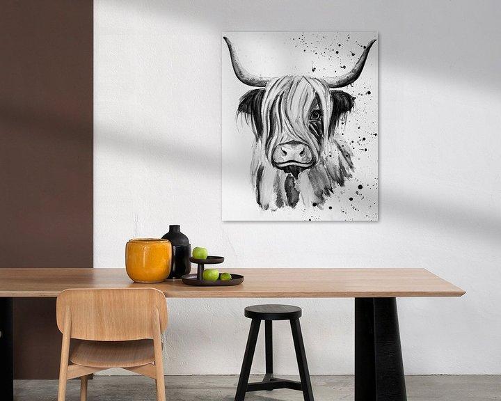 Sfeerimpressie: Schotse Hooglander aquarel in zwart wit van Bianca ter Riet