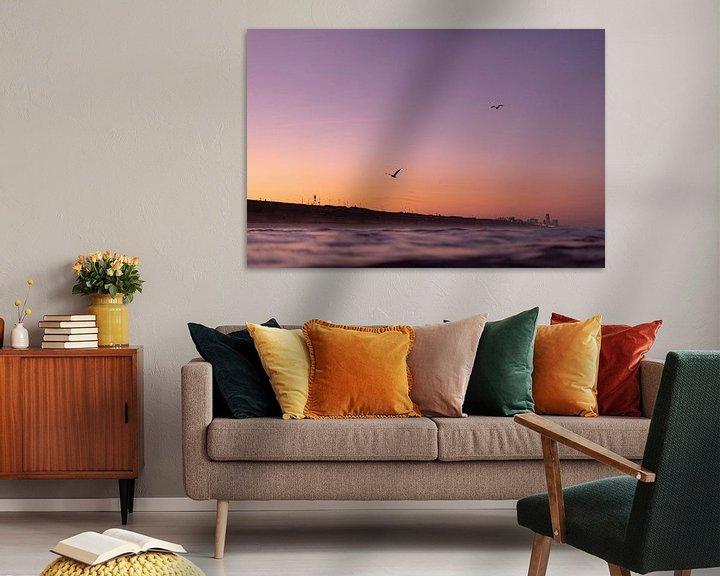Impression: Vallée des fleurs de l'aube au bord de la mer sur Tomas Grootveld