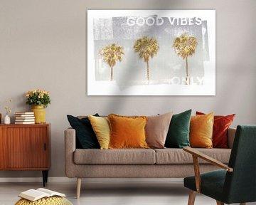 Vintage palm trees | good vibes only van Melanie Viola