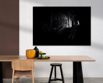 Verlassene Kohlengrube Hasard Cheratte, schwarz-weiß mit Filmkorn von Ger Beekes