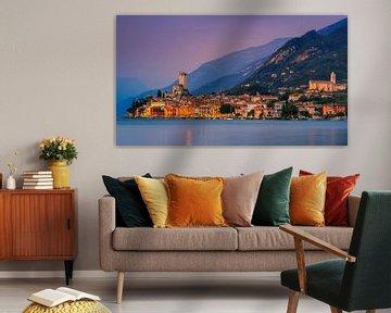 Zonsondergang Malcesine, Gardameer, Italië van Henk Meijer Photography