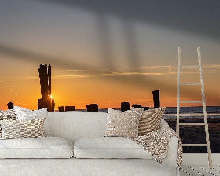 Sfeerimpressie behang: Zonsondergang Schoorl aan Zee van Photo Henk van Dijk