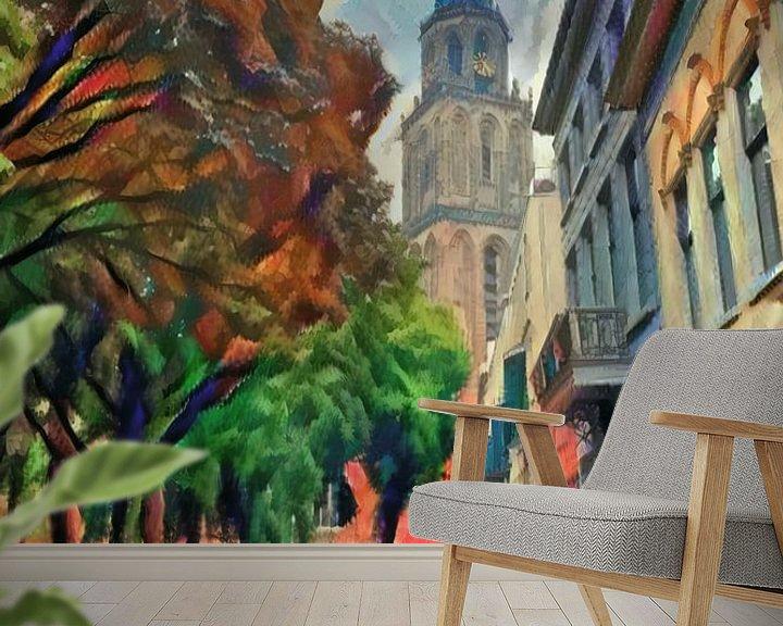 Sfeerimpressie behang: Schilderij Martinitoren Groningen vanaf Martinikerkhof van Slimme Kunst.nl