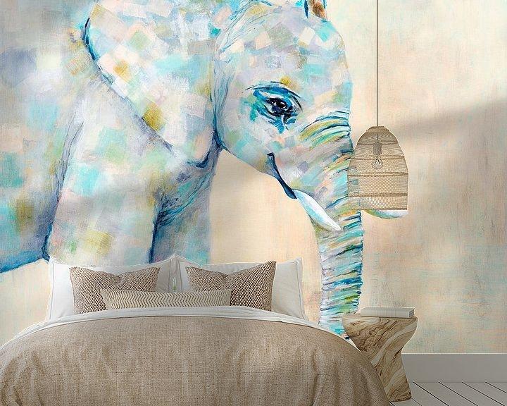 Beispiel fototapete: Elefant in Pastellfarben von Carmen de Bruijn