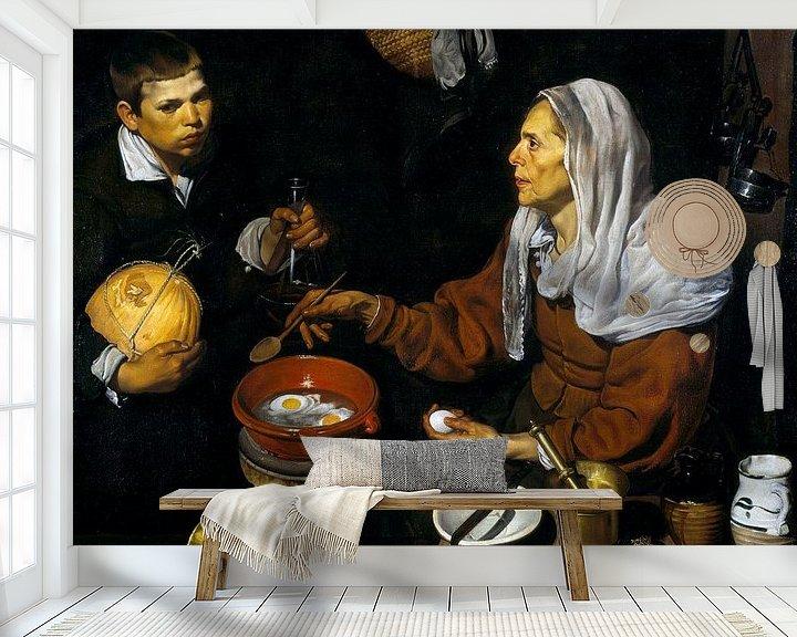 Sfeerimpressie behang: Een oude vrouw bakt eieren, Diego Velázquez - 1618